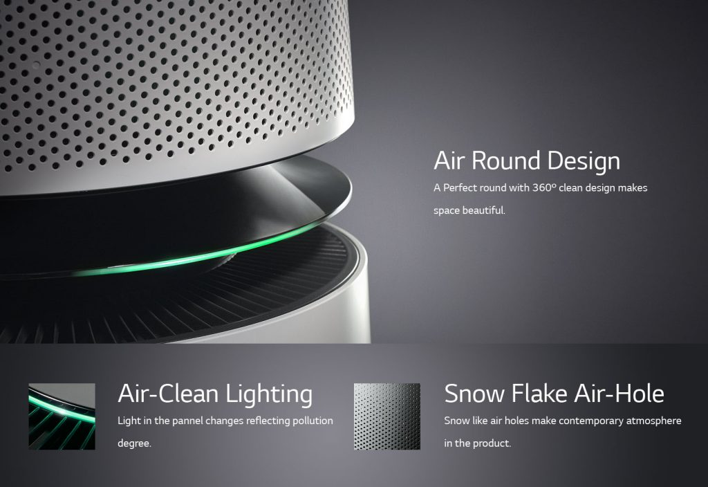 Air Purifier with round design take care all around the house