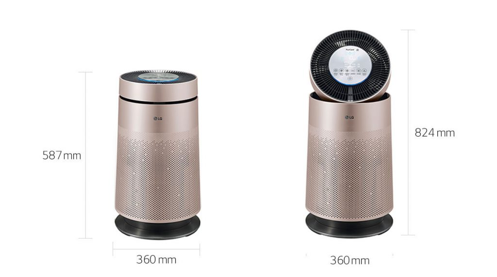 LG Air Purifier Romantic Gold Dimension Size