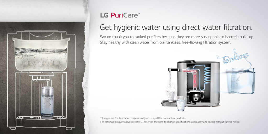 lg tankless water purifier free flowing filtration system