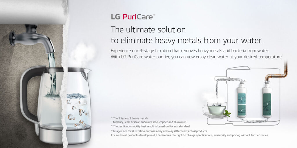 LG PuriCare™ Tankless water purifier consists of 3-stage filtration