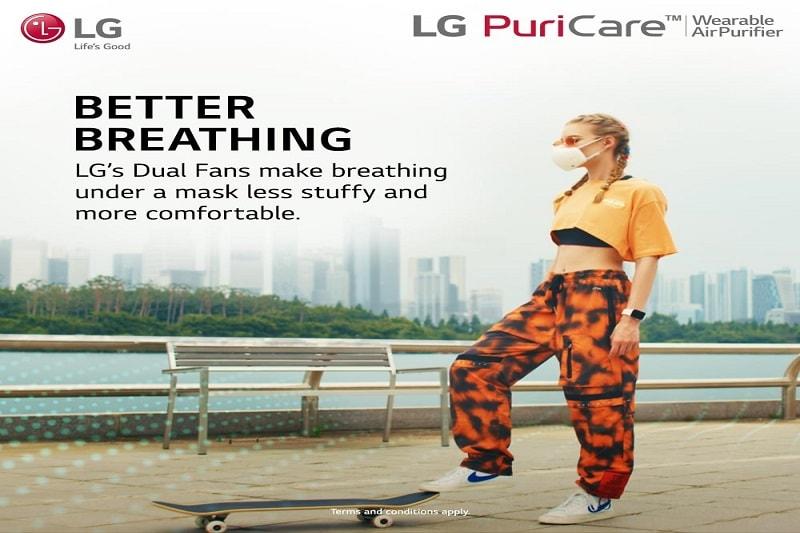 lg air purifier mask malaysia, lg puricare wearable air purifier, LG Air Purifying Mask Protective Mask White